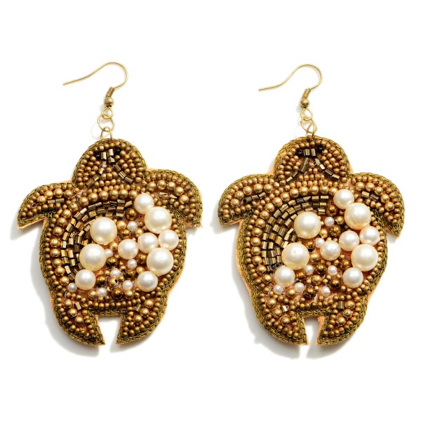 """Beaded Drop Sea Turtle Earrings Featuring Pearl Accents.  - Approximately 3"""" in Length"""