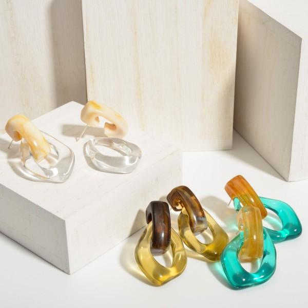 "Multicolor Resin Drop Earrings.  - Approximately 1.5"" in Length"
