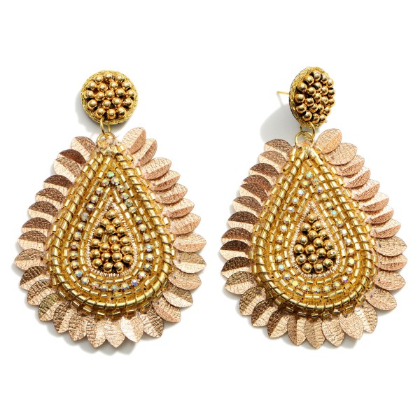 """Gold Teardrop Statement Earring Featuring Beaded Accents.   - Approximately 3.25"""" in Length"""