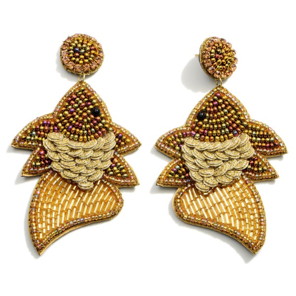 """Long Drop Fish Earrings Featuring Beaded Accents.  - Approximately 3.25"""" in Length"""