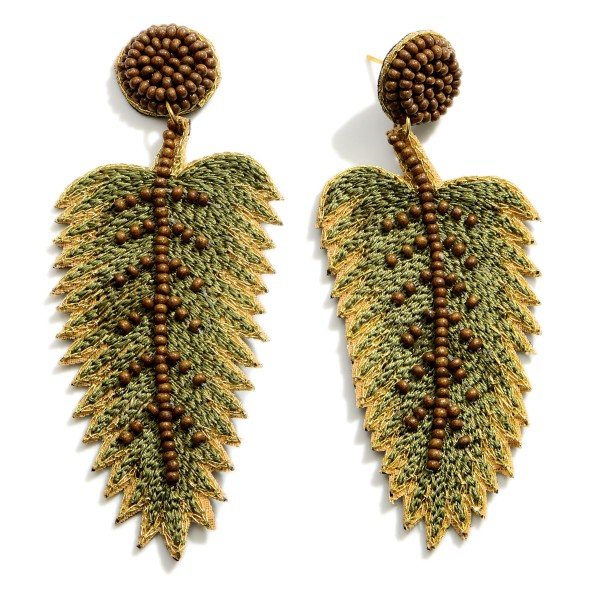 """Long Drop Leaf Earrings Featuring Beaded Accents.  - Approximately 3.5"""" in Length"""
