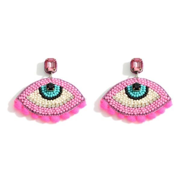 """Beaded Evil Eye Earrings.   - Approximately 1.5"""" Long"""
