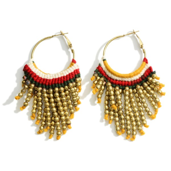"""Hoop Earrings Featuring Beaded Accents and Woven Details.   - Approximately 3"""" Long"""