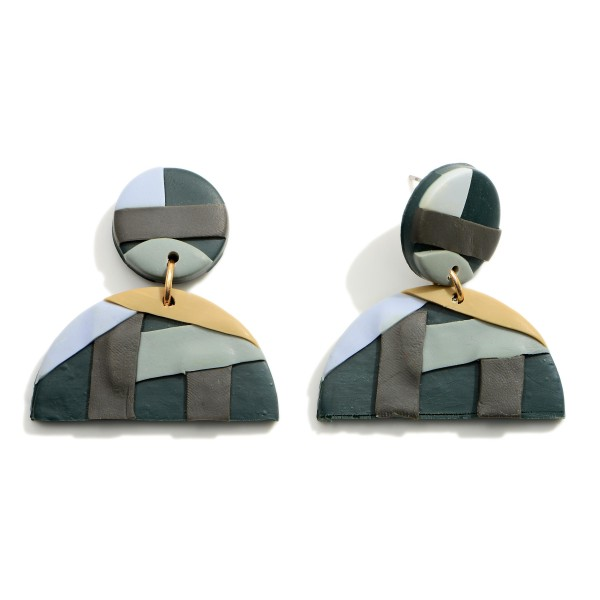 """Polymer Clay Drop Earrings Featuring an Abstract Print.  - Approximately 1.75"""" in Length"""