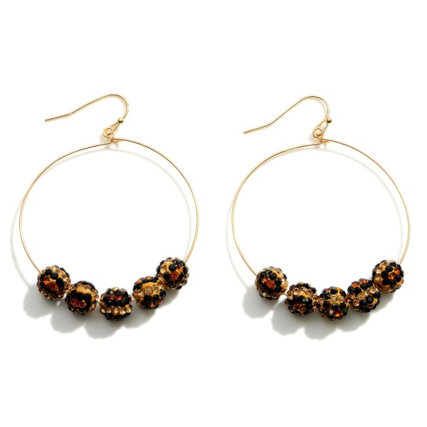 """Simple Drop Earrings Featuring Leopard Print Beaded Accents.  - Approximately 2.25"""" in Length"""