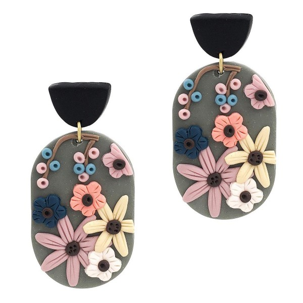 """Oval-Shaped Clay Polymer Earrings Featuring Floral Accents.  - Approximately 2.25"""" Long"""