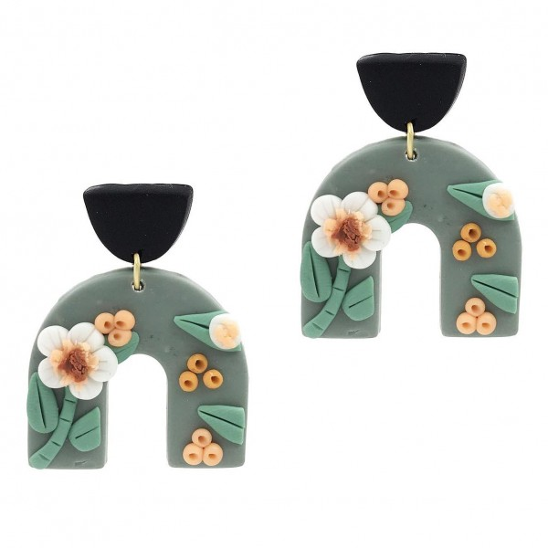 """U-Shaped Clay Polymer Earrings Featuring Floral Accents.   - Approximately 1.75"""" Long"""