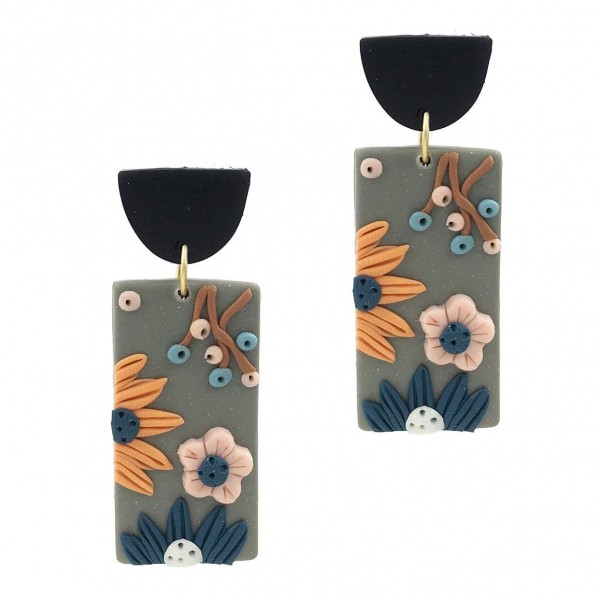 """Clay Polymer Drop Earrings Featuring Floral Accents.   - Approximately 2"""" Long"""