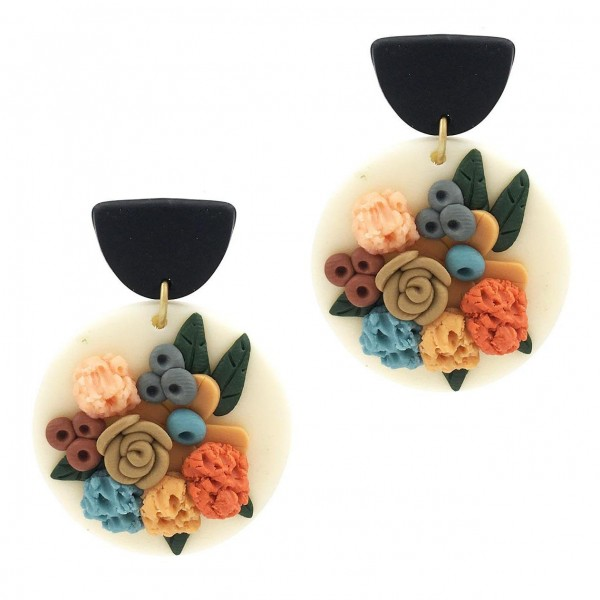 Wholesale clay Polymer Earrings Floral Accents Long