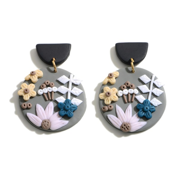 """Clay Polymer Drop Earrings Featuring Flower Accents.  - Approximately 2.25"""" in Length"""