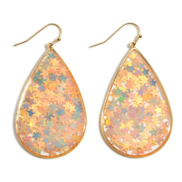 """Teardrop Earrings with Reflective Stars  - Approximately 2.5"""" Long"""