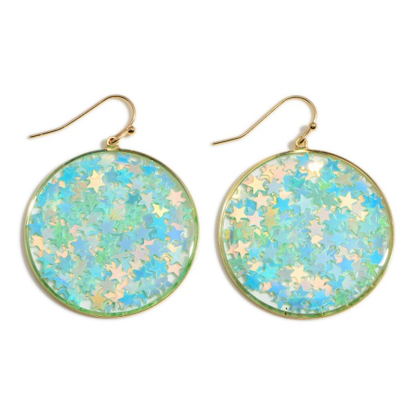 """Circle Drop Earrings with Reflective Stars  - Approximately 1.5"""" Long"""