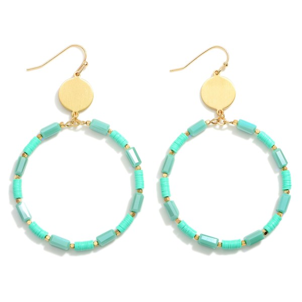 """Gold Circular Drop Earrings Featuring Beaded Accents.  - Approximately 2.5"""" in Length"""