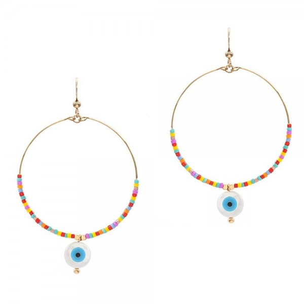 """Beaded Drop Earrings Featuring Evil Eye Accents.   - Approximately 2.5"""" Long"""