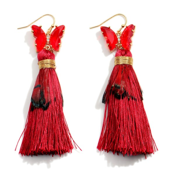 """Long Tassel Earrings Featuring Crystal Butterfly Accents and Feather Details.  - Approximately 3"""" in Length"""