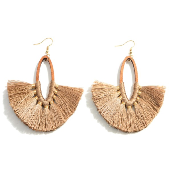 """Wooden Drop Earrings Featuring Tassel Accents.   - Approximately 3.75"""" Long"""