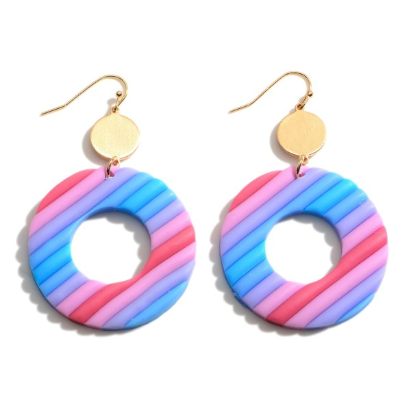"""Multi-Colored Clay Polymer Drop Earrings.   - Approximately 2.5"""" Long"""