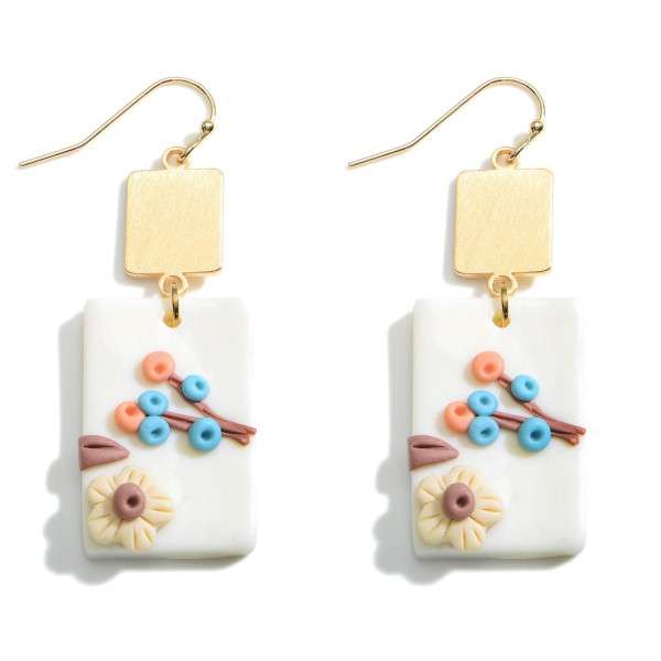 Wholesale clay Polymer Drop Earrings Floral Details