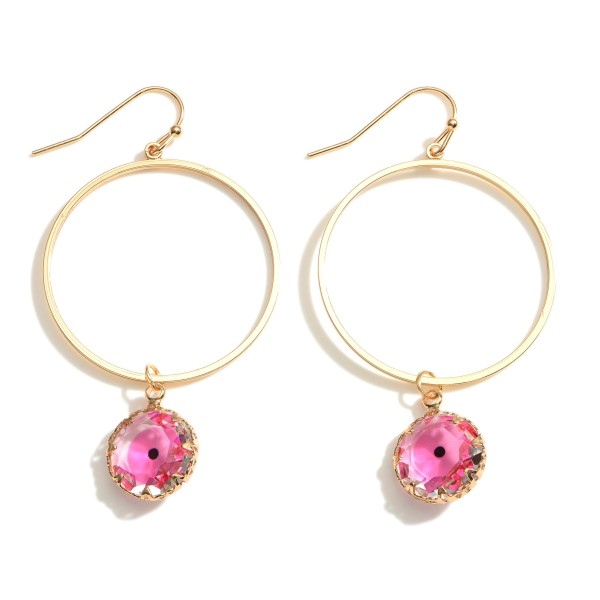 """Gold Drop Earrings Featuring a Crystal Evil Eye Pendant.  - Approximately 2"""" in Length"""