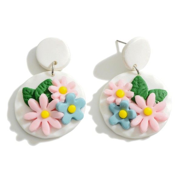 Wholesale polymer Clay Drop Earrings Flower Accent