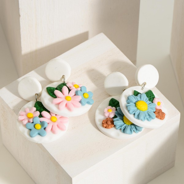 """Polymer Clay Drop Earrings Featuring Flower Accent.  -Approximately 1.75"""" in length"""