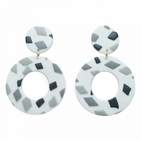 """Clay Polymer Drop Earrings Featuring Grey and Black Accents.   - Approximately 2.25"""" Long"""