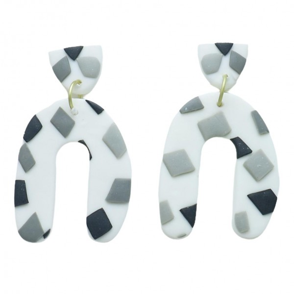 """U-Shaped Clay Polymer Earrings Featuring Grey and Black Accents.   - Approximately 1.75"""" Long"""