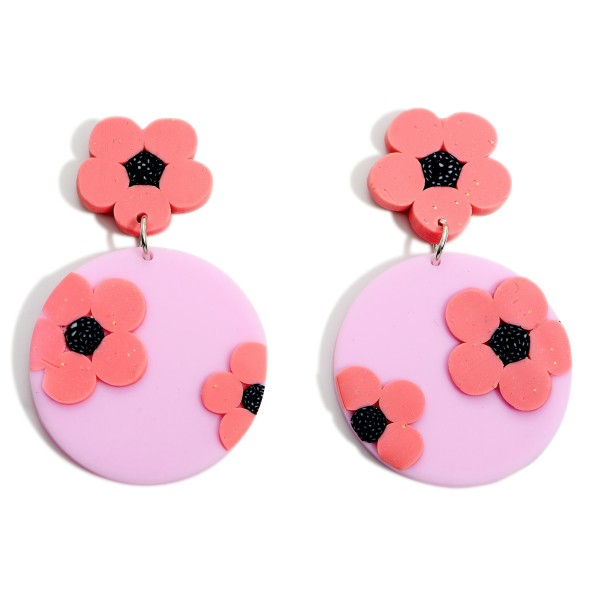 """Clay Polymer Drop Earrings Featuring Floral Accents.   - Approximately 2.25"""" Long"""