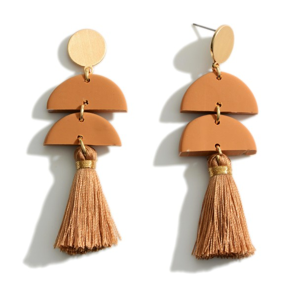 """Polymer Clay Earrings with Fringe Tassels  -Approximately 3"""" in length"""