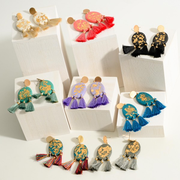 """Clay Polymer Earrings Featuring Gold Accents and Fringe Tassels  -Approximately 3"""" in length"""