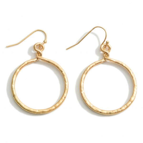 """Textured Metal Drop Earrings.   - Approximately 1.75"""" Long"""