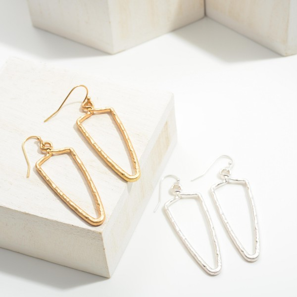 """Metal Drop Earrings Featuring Hammered Accents.   - Approximately 2.25"""" in Length"""