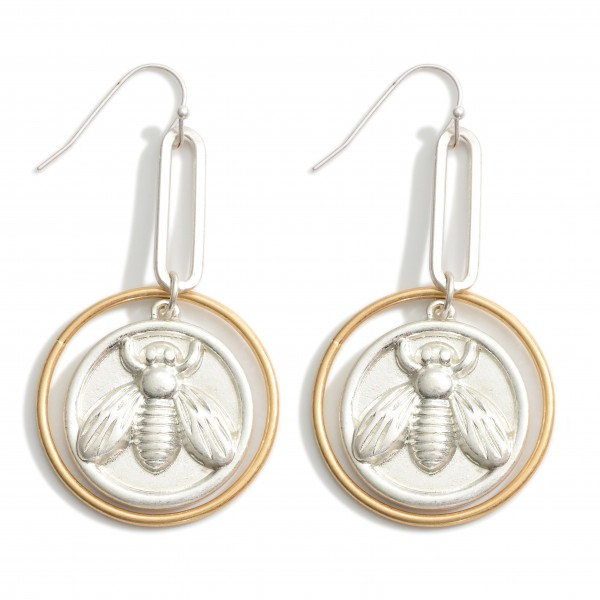 """Two-Tone Drop Earrings Featuring Bumblebee Coin.   - Approximately 2.5"""" Long"""