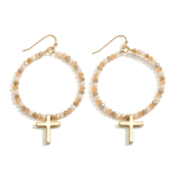 """Beaded Drop Earrings Featuring Cross Accents.   - Approximately 2.5"""" Long"""
