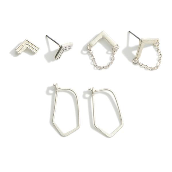 Set of Three Pairs of Geometric Metal Earrings.  - Chevron Stud Earrings Approximately 1cm in Diameter - Arrow Chain Stud Earrings Approximately 1cm in Diameter - Geometric Hoop Earrings Approximately 2cm in Length