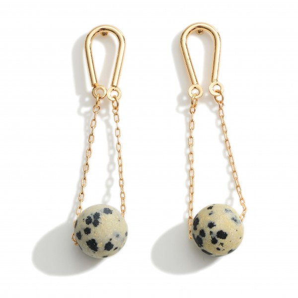 """Metal Earrings Featuring Natural Stone Accents.   - Approximately 2"""" Long"""