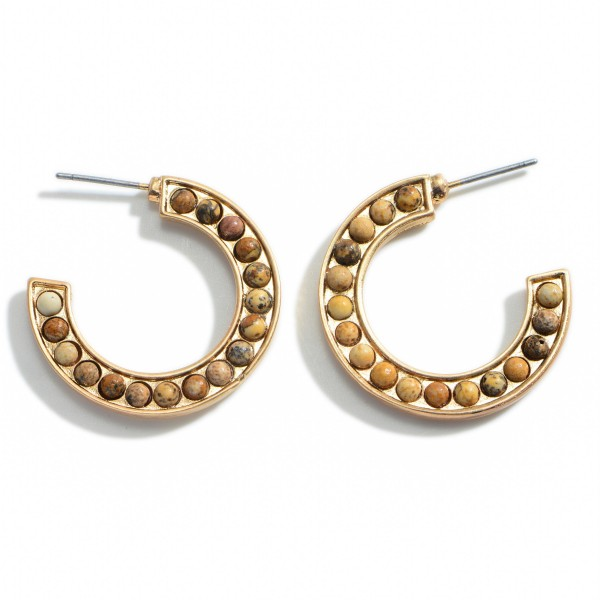 """Gold Hoop Earrings Featuring Natural Stone Accents.  - Approximately 1"""" in Diameter"""