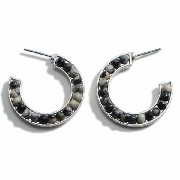 """Silver Hoop Earrings Featuring Natural Stone Accents.  - Approximately 1"""" in Diameter"""