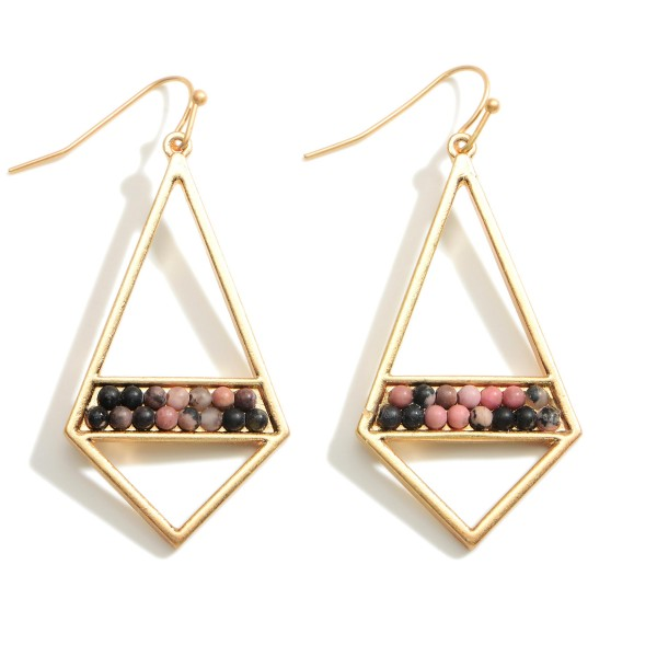 """Gold Geometric Drop Earrings Featuring Natural Stone Accents.  - Approximately 2.5"""" in Length"""