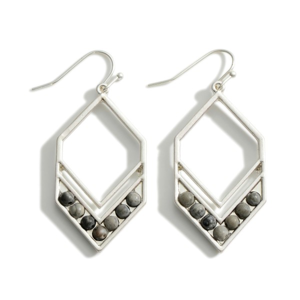 """Chevron-Shaped Drop Earrings Featuring Natural Stone Beads.   - Approximately 2"""" Long"""