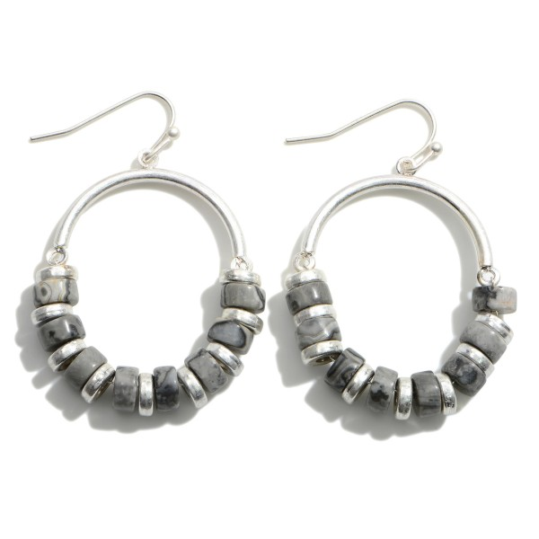 """Metal Drop Earrings Featuring Natural Stone Beaded Accents.   - Approximately 1.75"""" in Length"""