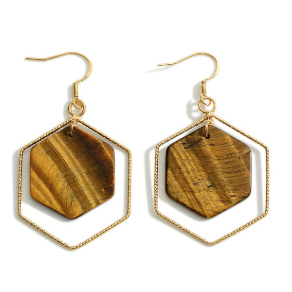 Wholesale natural Stone Hexagon Nested Drop Earrings Gold