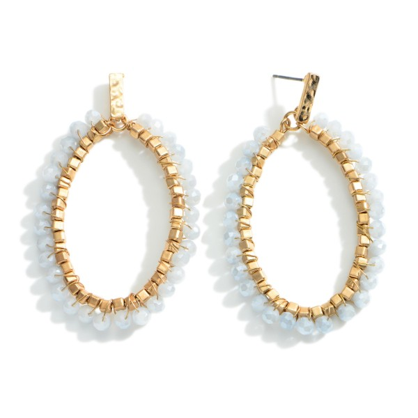 """Gold Drop Earrings featuring Beaded Accents.   - Approximately 2.5"""" Long"""