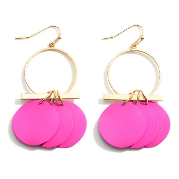"""Gold Drop Earrings featuring Fuchsia Disk Accents.  - Approximately 2.5"""" Long"""