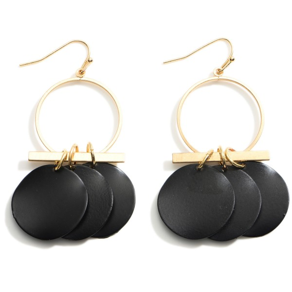 """Gold Drop Earrings featuring Jet Black Disk Accents.  - Approximately 2.5"""" Long"""