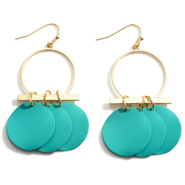 """Gold Drop Earrings featuring Teal Blue Disk Accents.  - Approximately 2.5"""" Long"""