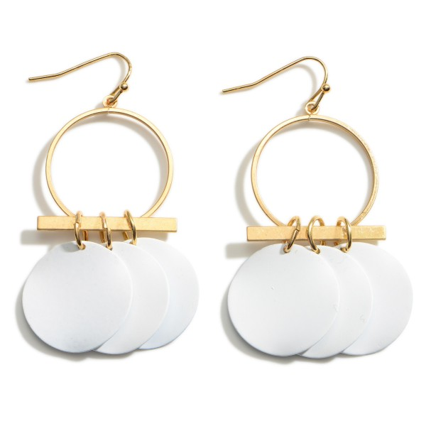 """Gold Drop Earrings featuring White Disk Accents.  - Approximately 2.5"""" Long"""