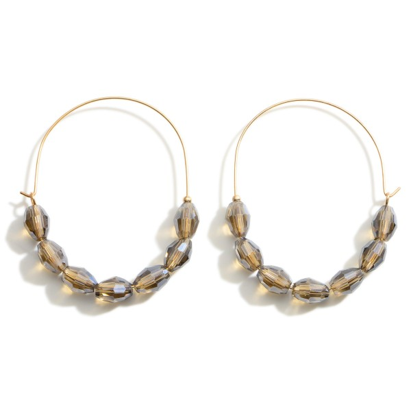 Wholesale gold Threader Earrings Iridescent Beaded Accents Long