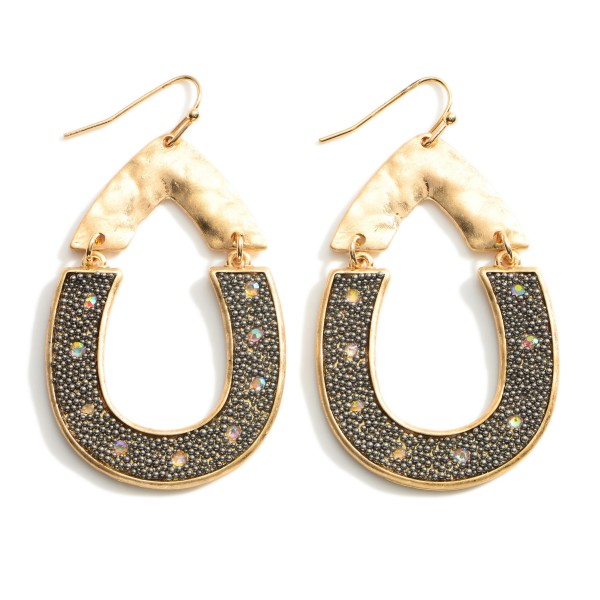 """Hammered Gold Teardrop Earrings with Rhinestone Accents.  - Approximately 2.25"""" Long"""