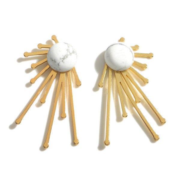 """Gold Stud Earrings Featuring Natural Stone Accents.  - Natural Stone Stud Approximately .5"""" in Diameter - Approximately 1.75"""" in Length"""
